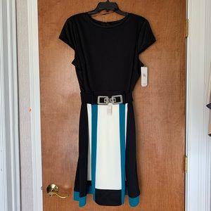 Sandra Darren Black/White/Blue Dress with Belt